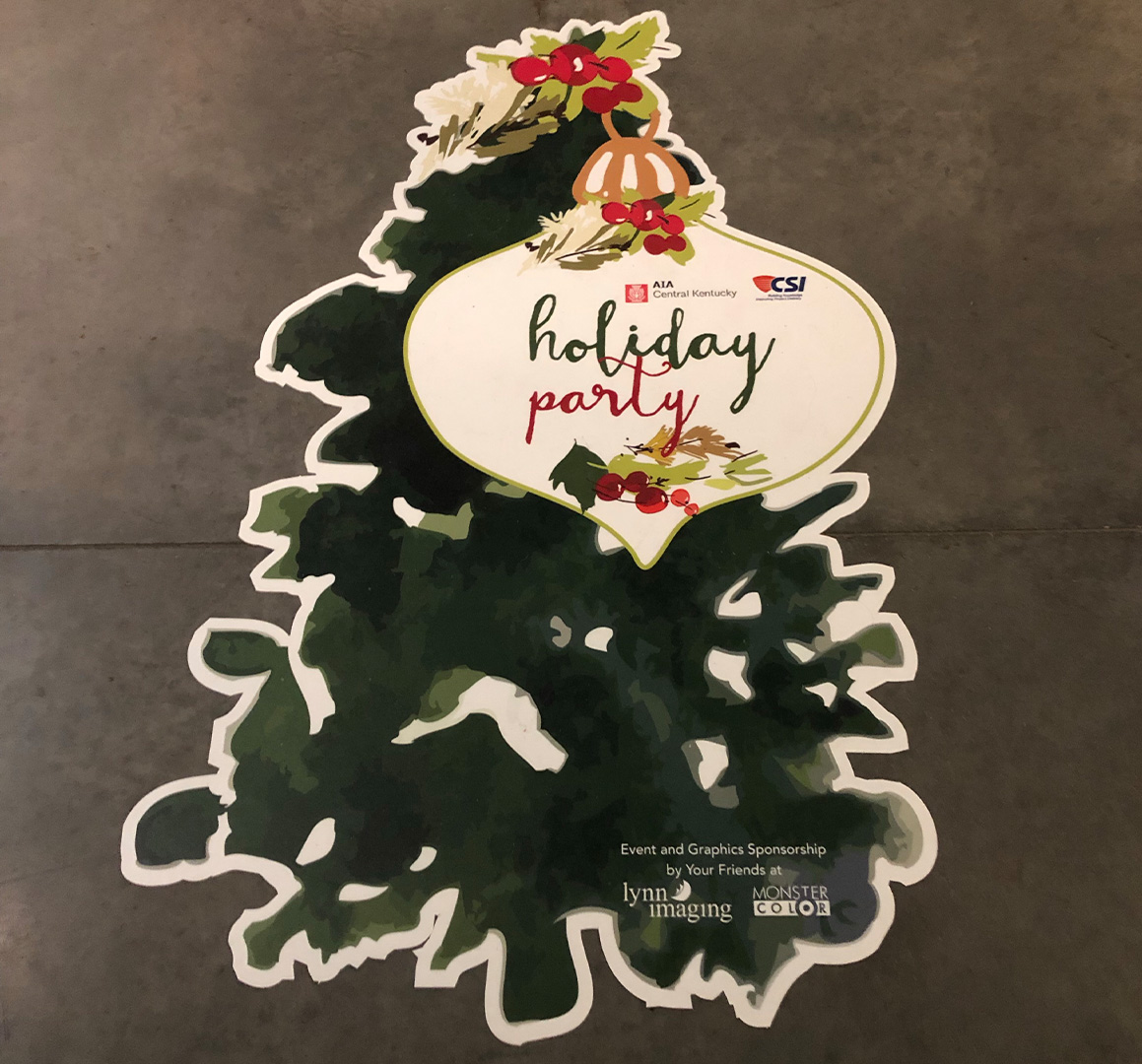 Holiday party floor decal