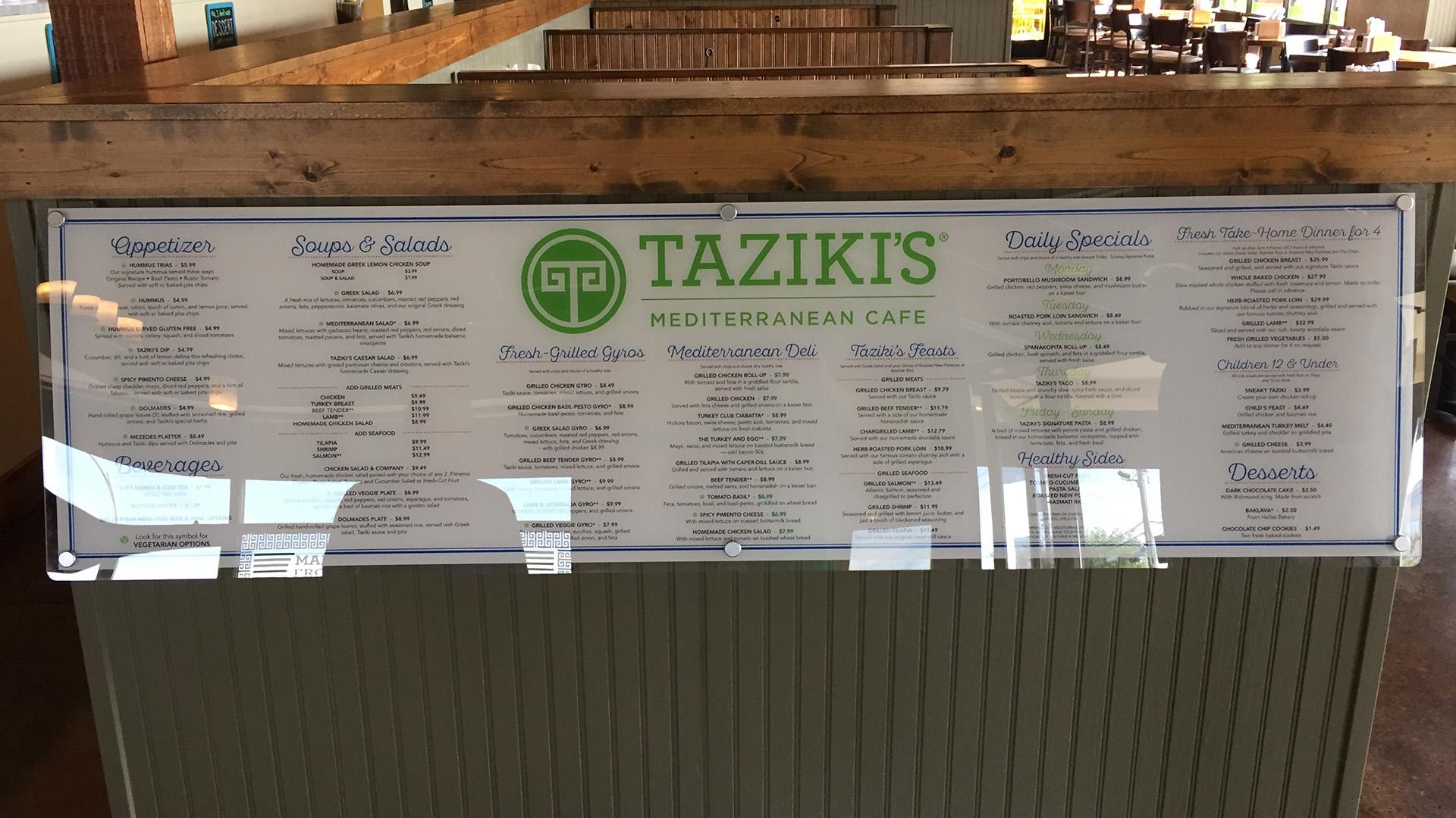 Tazikis restaurant menu