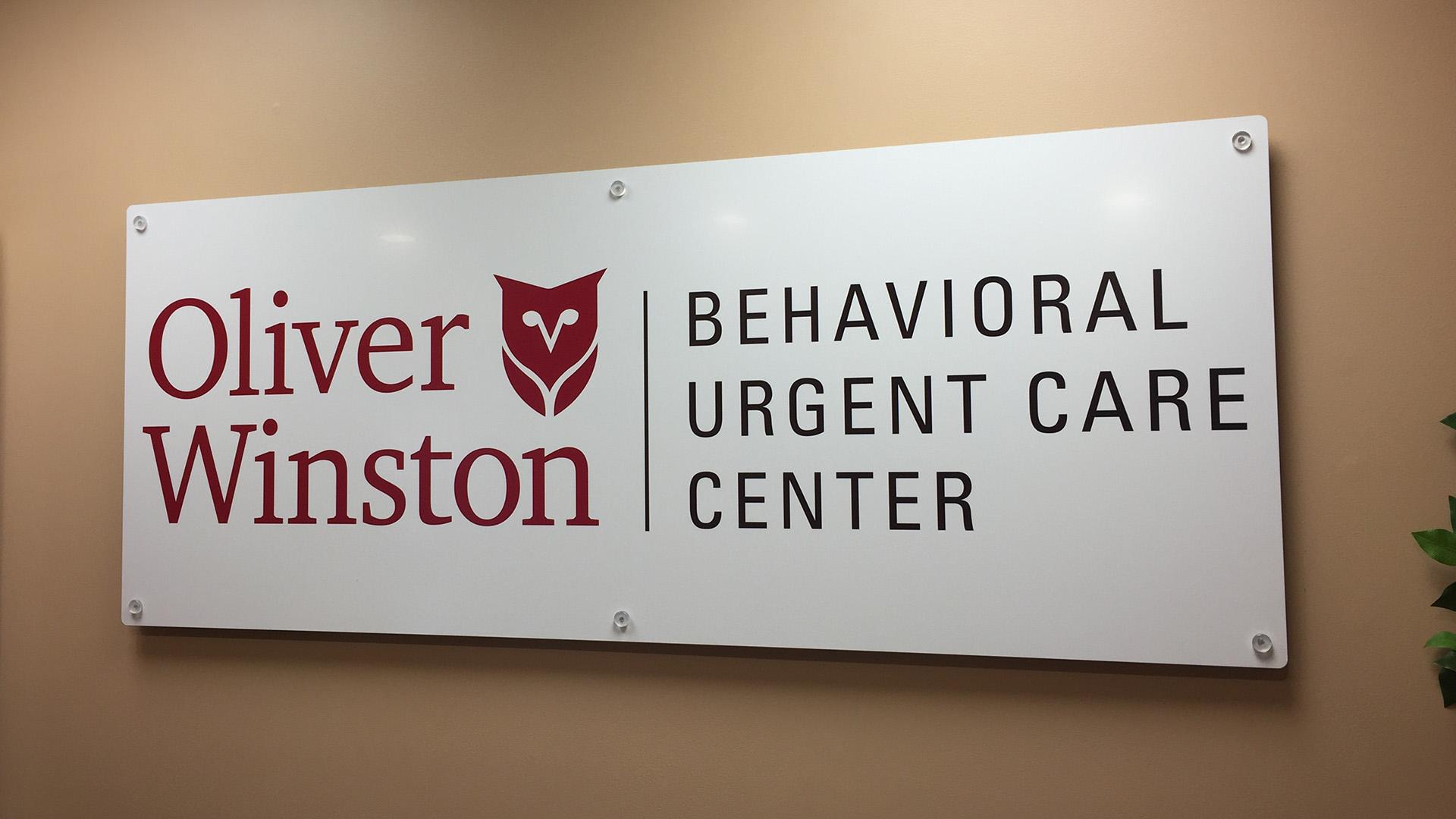 Oliver Winston Behavioral urgent care center door sign