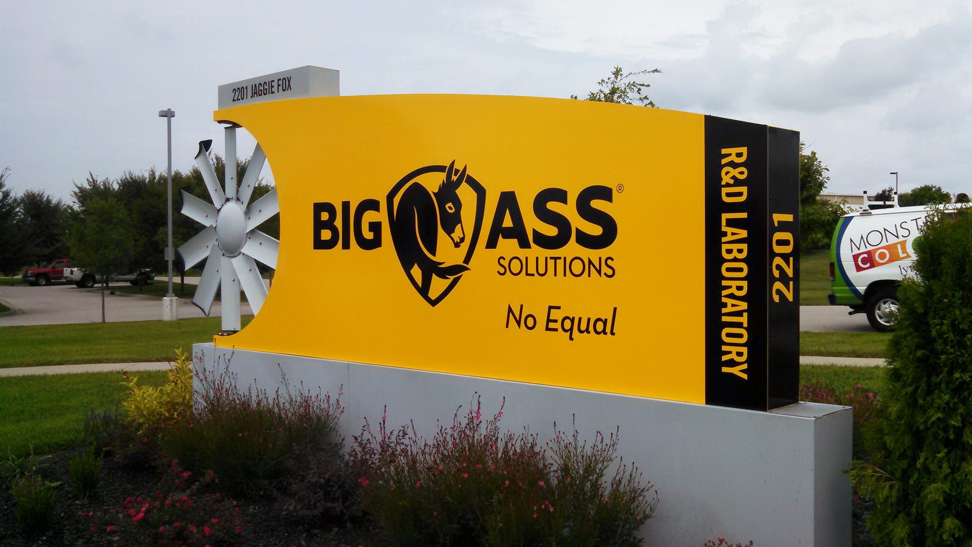Big Ass Solutions Outdoor company sign